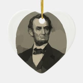 Abraham Lincoln Adorno Navideño De Cerámica En Forma De Corazón