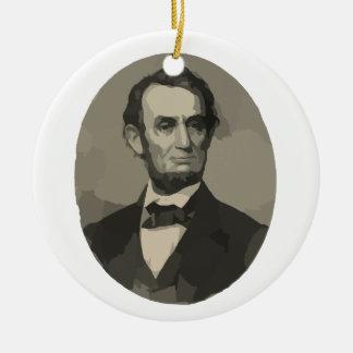 Abraham Lincoln Adorno Navideño Redondo De Cerámica