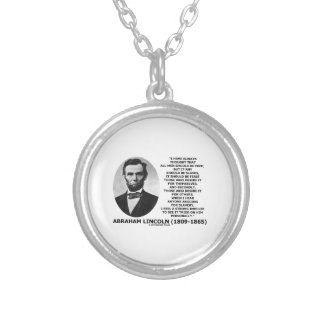 Abraham Lincoln All Men Should Be Free Slavery Round Pendant Necklace
