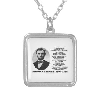 Abraham Lincoln All Men Should Be Free Slavery Square Pendant Necklace