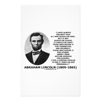 Abraham Lincoln All Men Should Be Free Slavery Stationery