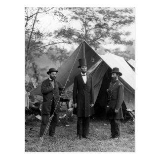 Abraham Lincoln Allan Pinkerton John A. McClernand Postcard