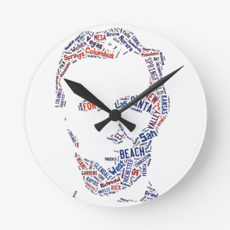Abraham Lincoln American Cities Words Cloud Round Clock