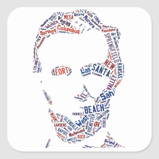 Abraham Lincoln American Cities Words Cloud Square Sticker