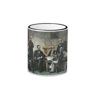 Abraham Lincoln and His Cabinet Ringer Mug
