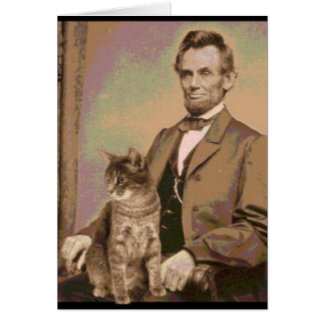 "Abraham Lincoln and his cat ""Dixie"" Card"
