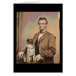 Abraham Lincoln and his Cat Dixie Greeting Card