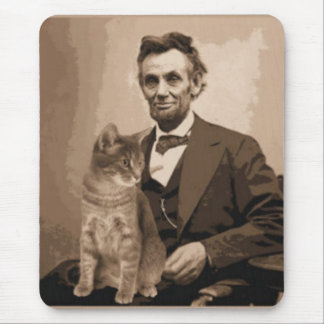"Abraham Lincoln and his cat ""Dixie"" Mouse Pad"