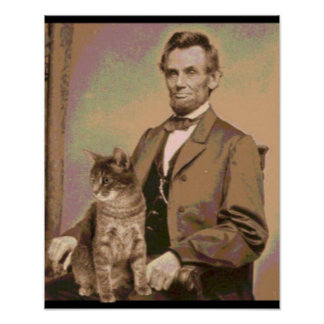"Abraham Lincoln and his cat ""Dixie"" Poster"