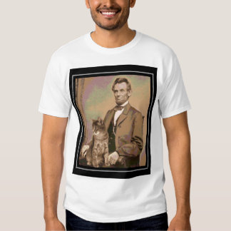 """Abraham Lincoln and his cat """"Dixie"""" T-shirts"""