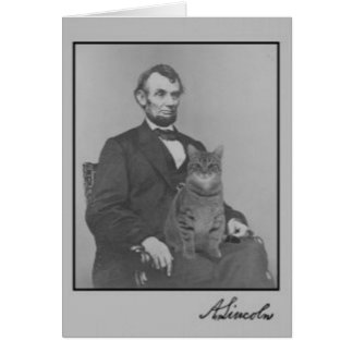 "Abraham Lincoln and his cat ""Gloria"" Card"