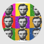 Abraham Lincoln Art Gifts---Unique 9 Photos Classic Round Sticker