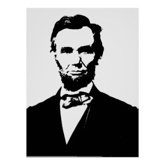 Abraham Lincoln, black and white vector drawing Poster