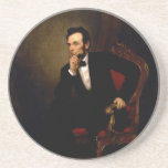 """Abraham Lincoln by George Peter Alexander Healy Coaster<br><div class=""""desc"""">Source of Scholar&#39;s Notes: Kloss, William, et al. Art in the White House: A Nation&#39;s Pride. Washington, D.C.: The White House Historical Association, 2008: &quot;[The artist paints the president in a] listening, absorbed pose. &quot;. . . [T]he figure is pulled forward from the murky olive-gray background by the sculptural modeling,...</div>"""
