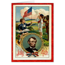 Abraham Lincoln Children Vintage 4th of July Card