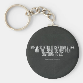 "Abraham Lincoln ""chop down a tree"" quote Keychain"