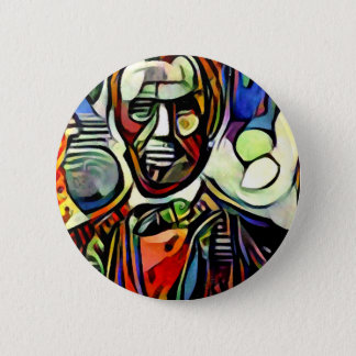 Abraham Lincoln digital colourful painting Button
