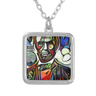 Abraham Lincoln digital colourful painting Silver Plated Necklace