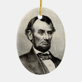 Abraham Lincoln Double-Sided Oval Ceramic Christmas Ornament