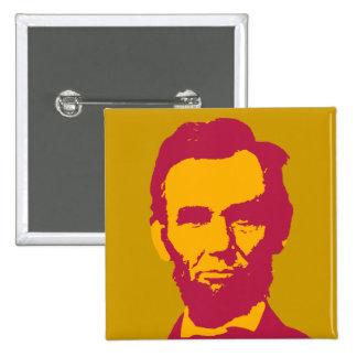 Abraham Lincoln en anaranjado y rojo Pin Cuadrada 5 Cm