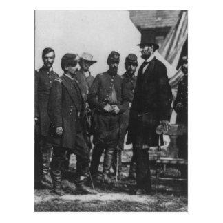 Abraham Lincoln en campo de batalla en Antietam Tarjetas Postales