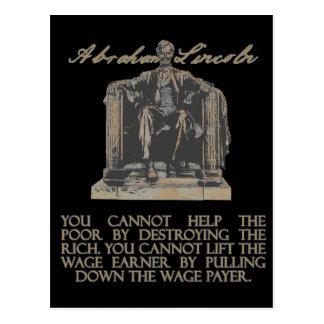 Abraham Lincoln en la destrucción de los ricos Tarjeta Postal