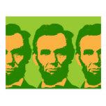 Abraham Lincoln en naranja y verde Postales