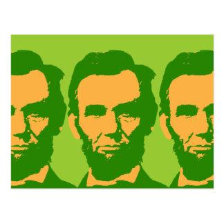 Abraham Lincoln en naranja y verde Tarjeta Postal