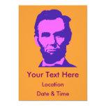 """Abraham Lincoln en rosa y púrpura Invitación 5"""" X 7"""""""