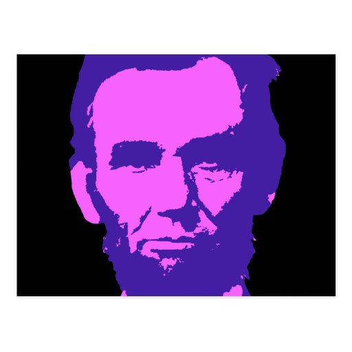 Abraham Lincoln en rosa y púrpura Tarjeta Postal