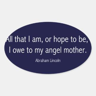 Abraham Lincoln Famous Quote in Piet Mondrian Oval Sticker