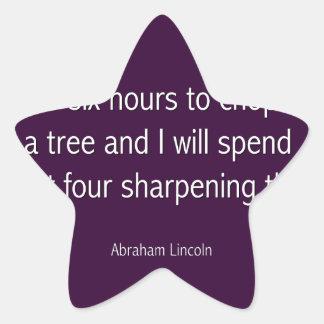 Abraham Lincoln Famous Quote  - Purple Star Sticker