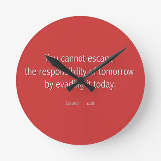 Abraham Lincoln Famous Quote  - Red Round Wallclock