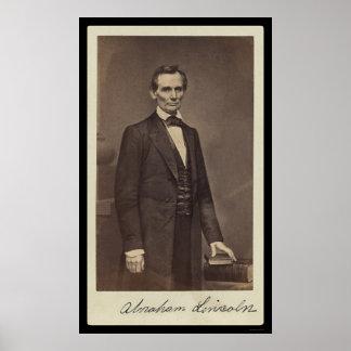 Abraham Lincoln firmó la tarjeta 1860 Poster