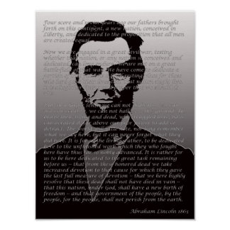 Abraham Lincoln Gettysburg Address Portrait Poster