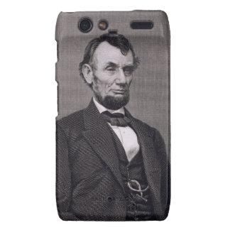 Abraham Lincoln, grabado de una fotografía cerca l Motorola Droid RAZR Carcasas