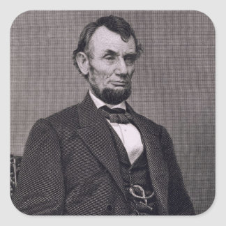 Abraham Lincoln, grabado de una fotografía cerca Calcomania Cuadradas