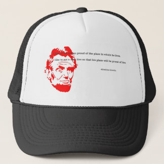 Abraham Lincoln Grateful Quote Red Trucker Hat