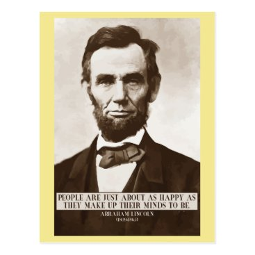 wordstolivebydesign Abraham Lincoln 'Happy' wisdom quote postcard