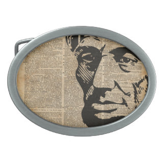 Abraham Lincoln Historical Vintage Dictionary Art Oval Belt Buckle