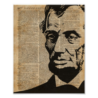 Abraham Lincoln Historical Vintage Dictionary Art Poster