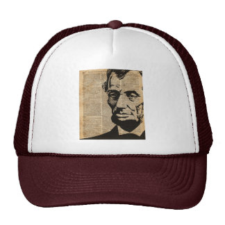 Abraham Lincoln Historical Vintage Dictionary Art Trucker Hat
