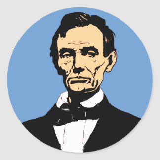 Abraham Lincoln Illustration on Blue Classic Round Sticker