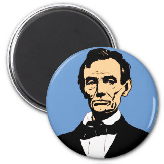 Abraham Lincoln Illustration on Blue Magnet