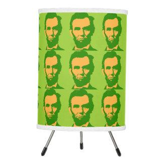 Abraham Lincoln in Orange & Green Tripod Lamp