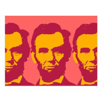 Abraham Lincoln in Orange & Red Postcard