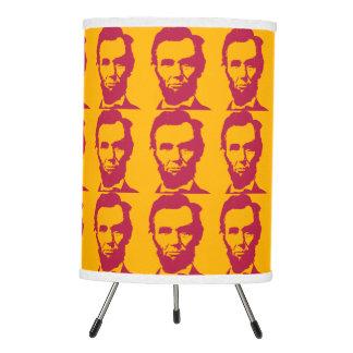 Abraham Lincoln in Orange & Red Tripod Lamp