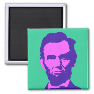 Abraham Lincoln in Pink & Purple 2 Inch Square Magnet