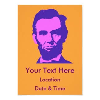 Abraham Lincoln in Pink & Purple 5x7 Paper Invitation Card
