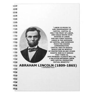 Abraham Lincoln Labor Capital Mutual Benefits Notebook